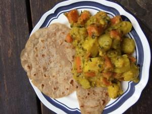Kartoffelcurry und Roti
